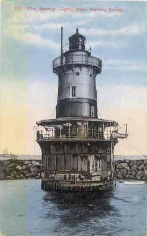 New Haven Harbor - 1915 postcard, Sperry Light