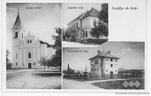 Cerklje ob Krki - Pre-World War II postcard of Cerklje ob Krki