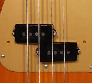 Humbucker - Split-coil humbucking pickup on a Fender Precision Bass