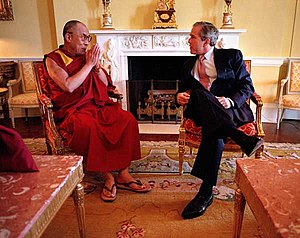 President George W. Bush and the 14th Dalai Lama at the Whitehouse in 2001.jpg