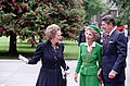 President Ronald Reagan Nancy Reagan with Margaret Thatcher During Their Trip to The United Kingdom and Their Welcoming Ceremony at Kensington Palace London.jpg