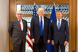 Donald Tusk and Jean-Claude Juncker with U.S. President Donald Trump, 2017