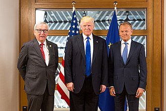 United States–European Union relations - President Donald Trump (centre) with Jean-Claude Juncker (left) and Donald Tusk (right) in Brussels, before the start of their bilateral meeting, in May 2017.