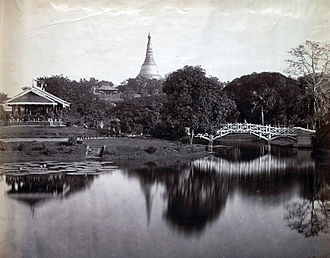 Yangon - A view of the Cantonment Gardens (now Kandaw Minglar Garden) in 1868.