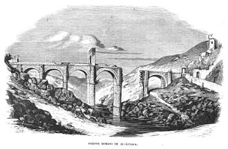 Alcántara Bridge - Illustration in a Spanish magazine, 1857 (shows the then current state with gap)