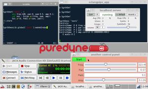SuperCollider - Screenshot of SuperCollider Vim on puredyne linux.