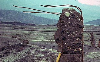 Pyroclastic flow - Building remnant in Francisco Leon destroyed by pyroclastic surges and flows during eruption of El Chichon volcano in Mexico 1982. Reinforcement rods in concrete bent in the direction of the flow.