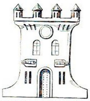 Queenborough Castle - The depiction of Queenborough Castle carved on the contemporary Baptismal font at Holy Trinity Church, Queenborough (an engraving published in London in 1845).