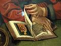 Quentin metsys, il pesatore d'oro con la moglie, 1514, 05.JPG