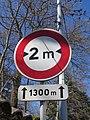 Quincié-en-Beaujolais - Route du Petit Saint-Cyr - Panneau 2 m largeur maxi (mars 2019).jpg