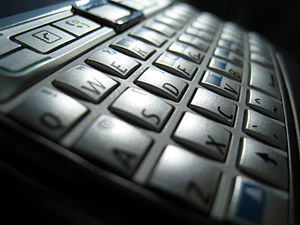 English: QWERTY keypad from mobile phone Nokia...