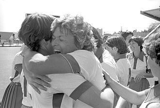 Zimbabwe women's national field hockey team at the 1980 Summer Olympics - Members of the Zimbabwean team celebrate after their victory over Poland.