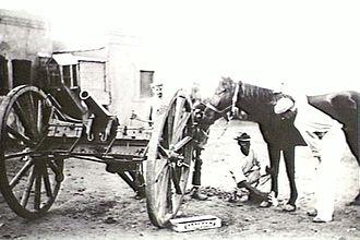 RML 7-pounder Mountain Gun - Gun on field carriage at Mafeking