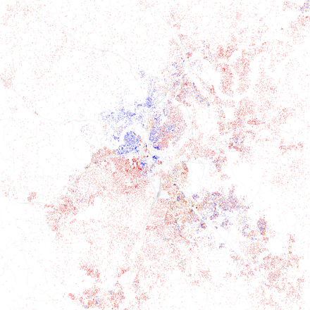 Map of racial distribution in Nashville, 2010 U.S. Census. Each dot is 25 people: White, Black, Asian Hispanic, or Other (yellow) Race and ethnicity 2010- Nashville (5559890227).png