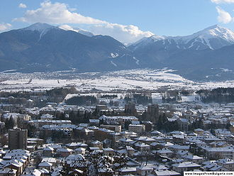 Razlog - View over Razlog with the mountains in the background