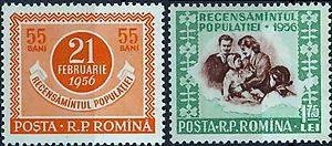 Demographic history of Romania - 1956 census on a pair of stamps