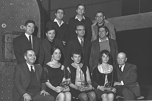 Chaim Topol - Topol (center row, far right) and other winners of the 1964 David's Harp award in art and entertainment
