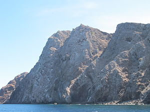 Redonda - The west (leeward) coast of Redonda consists almost entirely of sheer cliffs many hundreds of feet high