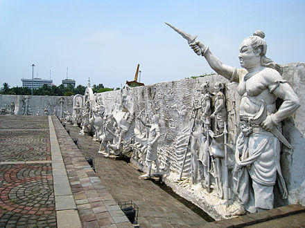 The high reliefs of Gajah Mada and Majapahit history depicted in Monas, has become the source of Indonesian national pride of past greatness. Relief of Indonesian History, Monas.JPG