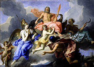 Goddess movement - Minerva and the Triumph of Jupiter by René-Antoine Houasse (1706), showing the goddess Athena sitting at the right hand of her father Zeus while the goddess Demeter sits in the background holding a scythe