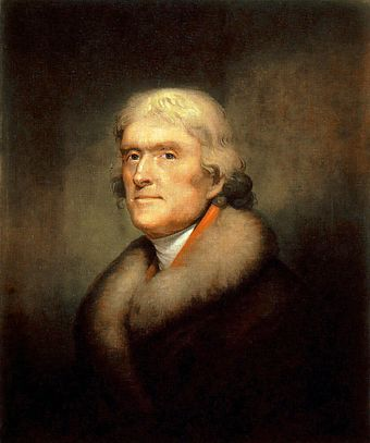 "Thomas Jefferson, the third President of the United States (1801-1809), believed that the acquisition of the Canadas was a ""mere matter of marching"". Reproduction-of-the-1805-Rembrandt-Peale-painting-of-Thomas-Jefferson-New-York-Historical-Society 1.jpg"