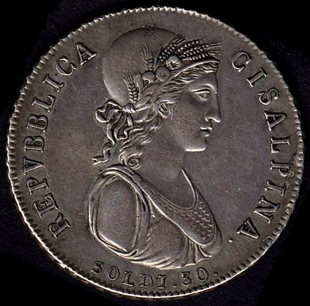 30 soldi coin (equal to 1 /2 lira) of the Cisalpine Republic, 1801 Repubblica Cisalpina - 30soldi 1801.jpg