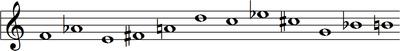 F, A ♭, E, F♯, A, D, C, E ♭, C♯, G, B ♭, B