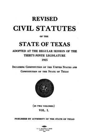Law of Texas - Title page of the ''Revised Civil Statutes'' from 1925