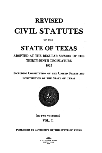 Law of Texas - Title page of the Revised Civil Statutes from 1925