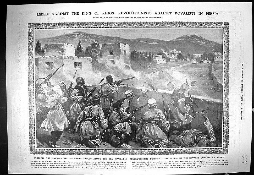 Revolutionists defending Davachi bridge, Tabriz (May 1, 1909)