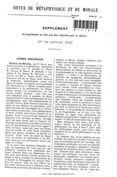 File:Revue de métaphysique et de morale, supplément 1, 1912.djvu