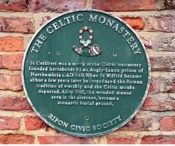 Photo of Celtic Monastery, Ripon, Cuthbert, and Wilfrid green plaque