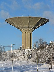 The mushroom-shaped concrete water tower of Roihuvuori in Helsinki, Finland was built in the 1970s. It is 52 metres high and can hold around 12,000 m³ of water.