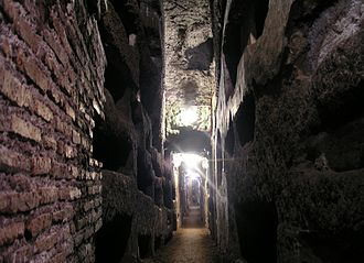 Catacombs - Grave niches in the Catacombs of Domitilla, Rome.