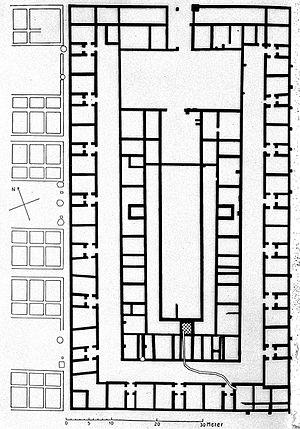 Medicine in ancient Rome - Plan of Valetudinarium, near Düsseldorf, Germany. Late 1st century