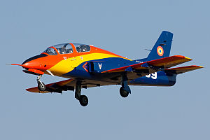 Romanian Air Force IAR-99 Soim 100th anniversary of aviation colours.jpg