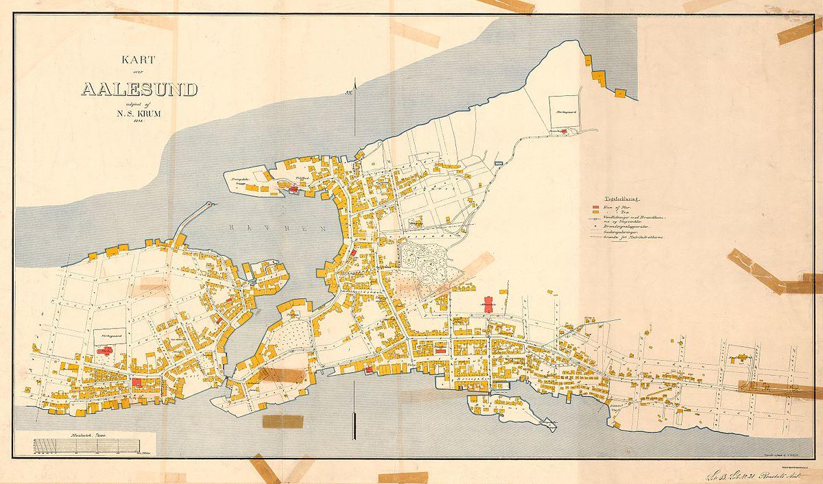 File Romsdals Amt Nr 27 Kart Over Alesund 1898 Jpg Wikimedia