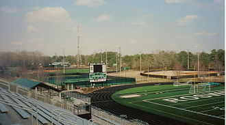 Roswell High School (Georgia) - Roswell's athletic fields as seen from the stadium. Visible are the baseball field, softball field, tennis courts and north end zone of the football stadium.