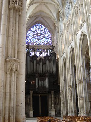 Church of St. Ouen, Rouen - Interior with organ.