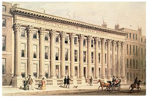 Royal Institution - The Royal Institution building on Albemarle Street, London, circa 1838