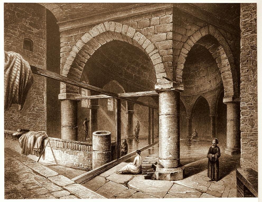 Illustration du bain Rudas à Budapest en 1850 - Image de Thaler Tamas