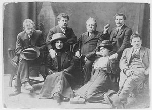 Milly Witkop - Milly Witkop (front row, first from left to right) with Rudolph Rocker (behind her) and other London anarchists in 1912