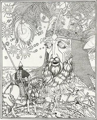 Ruslan and Lyudmila (opera) - Ruslan Meeting the Talking Head, by Ivan Bilibin