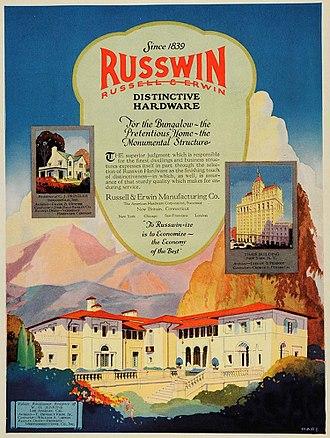 "William O. Jenkins House - ""Russwin Distinctive Hardware"" advert (1923) featuring the William O. Jenkins House."