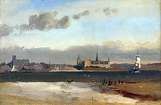 View of Helsingør and Kronborg from the beach south of the city