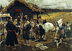 Serfdom in Russia - A Peasant Leaving His Landlord on Yuriev Day, painting by Sergei V. Ivanov.