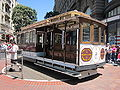 SF cable car no. 1 being turned on Powell St. 1.JPG