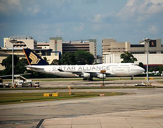 Changi - Airline House, the corporate head office of Singapore Airlines, is in the background