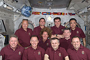 STS-135 and Expedition 28 joint group portrait