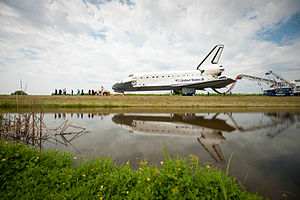 Space Shuttle retirement - Space Shuttle ''Atlantis'' towed back to the Orbiter Processing Facility for the last time at the end of the Shuttle program